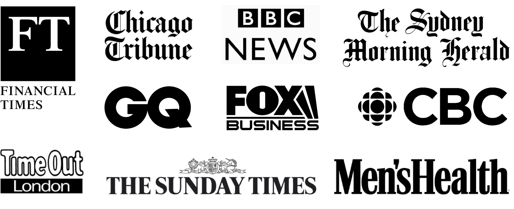 A set of logos where Big Drop has been featured in the press and on TV