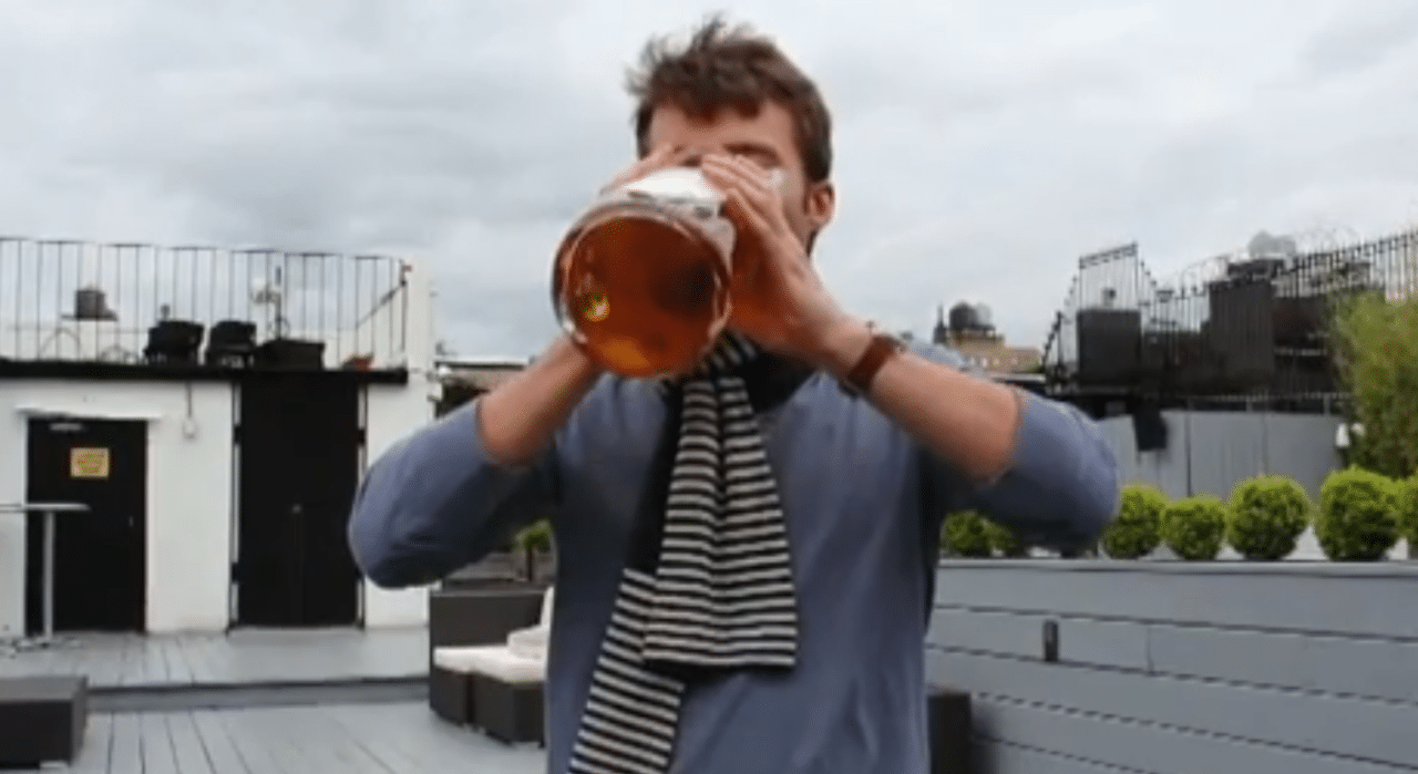 Tim, downing a massive glass of alcohol-free beer